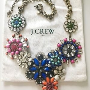 J. Crew Floral Lattice crystal statement necklace